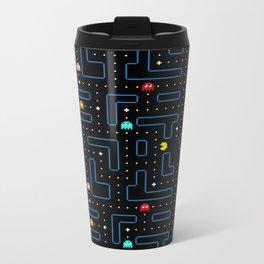 Pacman Retro Arcade Gaming Pattern Metal Travel Mug