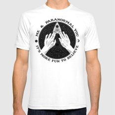 Me & Paranormal You - James Roper Design - Ouija B&W (black lettering) SMALL Mens Fitted Tee White