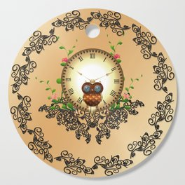 Steampunk, cute owl Cutting Board