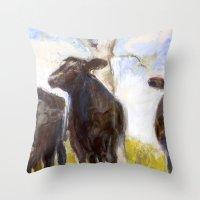 chicago bulls Throw Pillows featuring 3 Bulls  by Sabine Weissbach