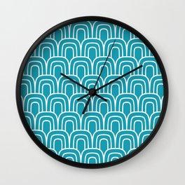 Rainbow Scallop Pattern Turquoise Wall Clock