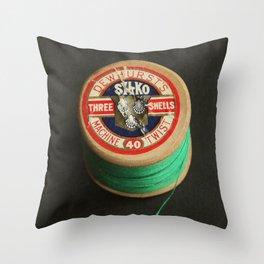 Green Vintage Cotton Reel Throw Pillow