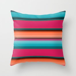 Traditional Mexican Serape in Teal Throw Pillow