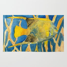 tropical fish square painting Rug