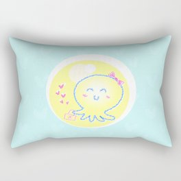 Lady Octopus with a handbag and a bow on a head Rectangular Pillow