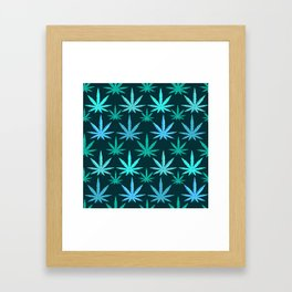 Marijuana Teal Weed Framed Art Print