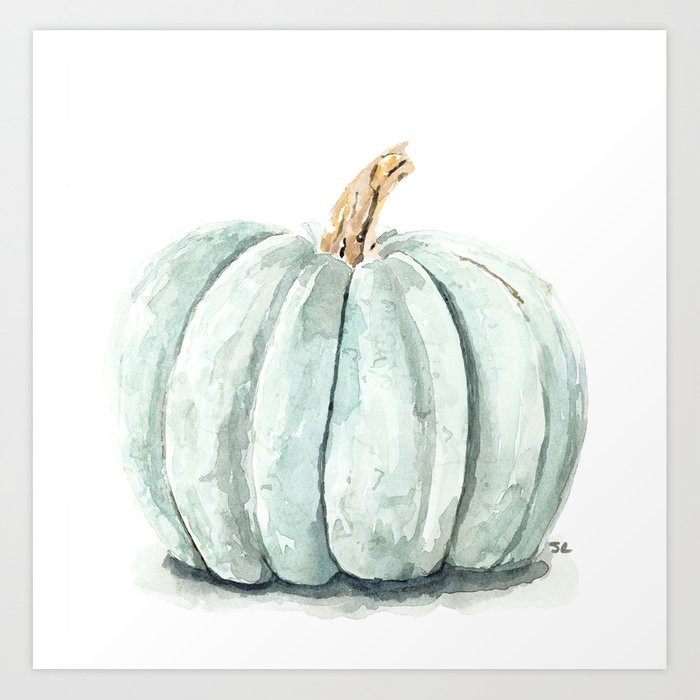 Autumn Blue Gray Pumpkin Wall Art Fall Pumpkin Watercolor Print Blue Gray Watercolor Pumpkin Print Fall Squash Watercolor Illustration