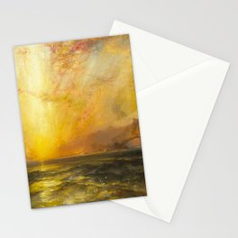 Golden Sunset and Sky over a Troubled Sea landscape painting by Thomas Moran Stationery Cards