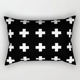 Swiss Cross Black Rectangular Pillow