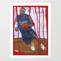 nba Art Prints featuring NBA PLAYERS - Allen Iverson by Ibbanez