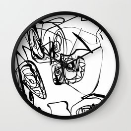 Dancing Flower | Flower Abstract Art |Black and White Art Print Wall Clock