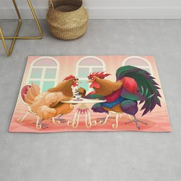 Hen and rooster in a cafè Rug