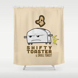 Shifty Toaster & Skull Toast Shower Curtain