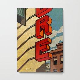 In red vertical Metal Print
