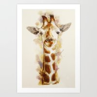 giraffe Art Prints featuring giraffe by beart24