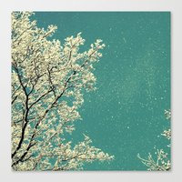 snow Canvas Prints featuring snow by Claudia Drossert
