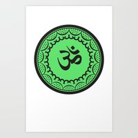 islam Art Prints featuring Black And Green Islam Religious Symbol by ArtOnWear