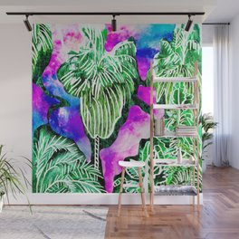 Space Tropic | Modern green tropical palm tree forest photography illustration nebula color block Wall Mural