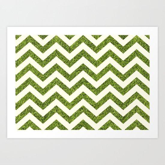 Chevron Grass Texture Art Print