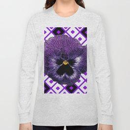 Purple & Black Pansy White Pattern Art Long Sleeve T-shirt