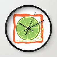 lime Wall Clocks featuring LIME by Tanya Pligina