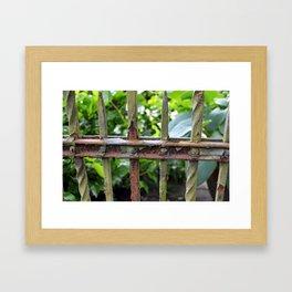 Rusty fence Framed Art Print