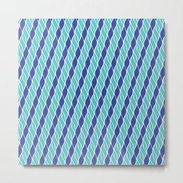 Wavy Stripes of Blue Metal Print