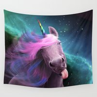 sassy Wall Tapestries featuring Sassy Unicorn by Jessica LeClerc Illustration