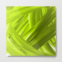 Woven 9 Chartreuse Green - Abstract Art Series Metal Print
