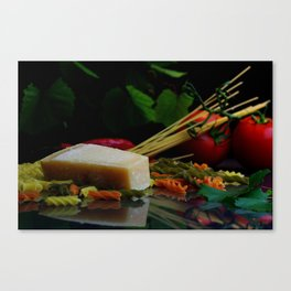 Parmesan cheese and pasta still life Canvas Print