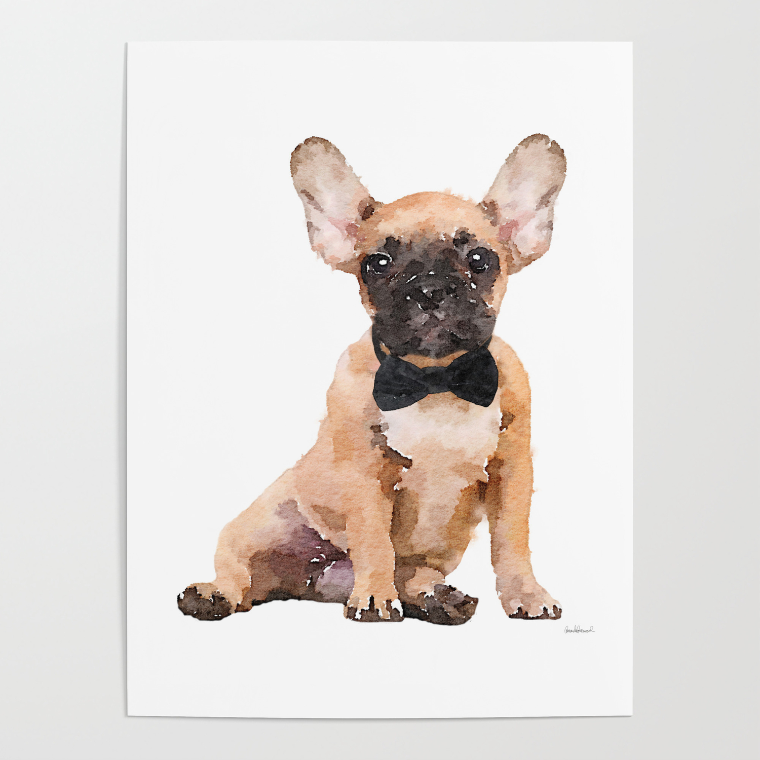 Fawn French Bulldog Bow Tie Frenchie Puppy Poster By Amandagreenwood Society6