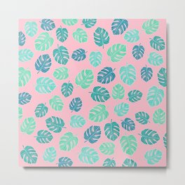 Modern tropical leaf monstera turquoise mint watercolor hand drawn illustration on pastel pink Metal Print