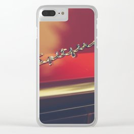 Triumph spitfire, chromed logo, macro photo, supercar details, red auto Clear iPhone Case