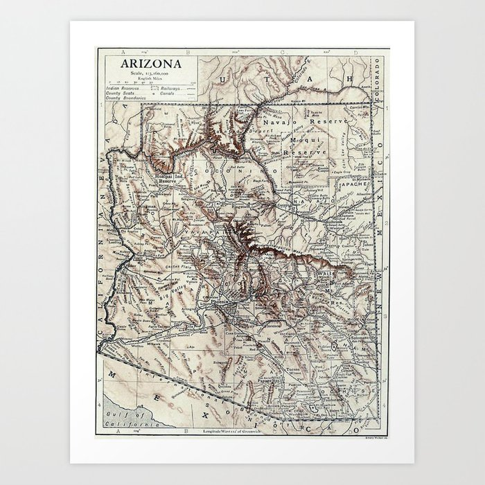 Vintage Map of Arizona (1911)  Kunstdrucke