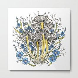 Blue Flowers and Mushrooms Metal Print