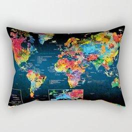 World Map Black - 2 Rectangular Pillow