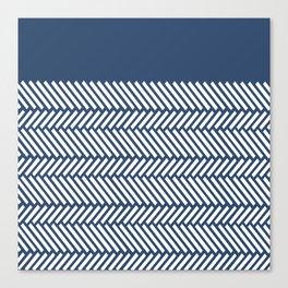 Herringbone Boarder Navy Canvas Print