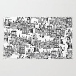 Doctor Who Toile de Jouy | 'Walking Doodle' | Black Rug