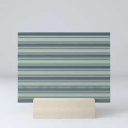 Blue-Green Tan Purple Horizontal Line Pattern 2021 Color of the Year Aegean Teal and Accent Shades Mini Art Print