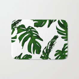 Simply Tropical Palm Leaves in Jungle Green Bath Mat