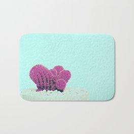 Vintage Pink Cactus on Blue Bath Mat