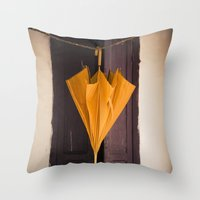 umbrella Throw Pillows featuring Umbrella by Maria Heyens