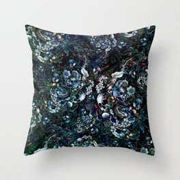 Night Garden Skulls Throw Pillow