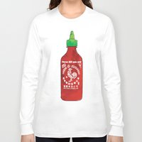 sriracha Long Sleeve T-shirts featuring HOT SAUCE by RUMOKO x Vintage Cheddar