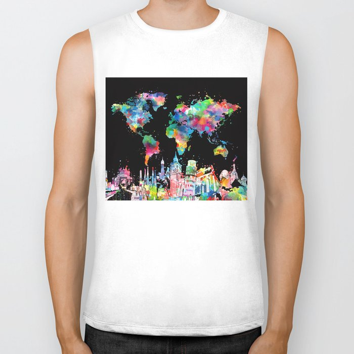 world map city skyline 3 Biker Tank