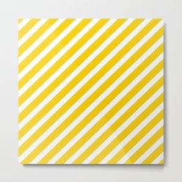 Yellow Diagonal Stripes Metal Print