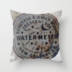 Street Water Meter - New Orleans LA Throw Pillow