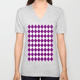 Rhombus (Purple/White) Unisex V-Neck