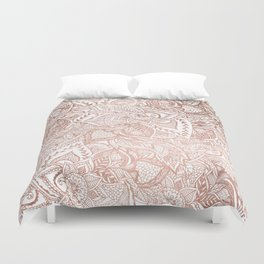 Chic hand drawn rose gold floral mandala pattern Duvet Cover