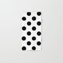 Large Polka Dots - Black on White Hand & Bath Towel
